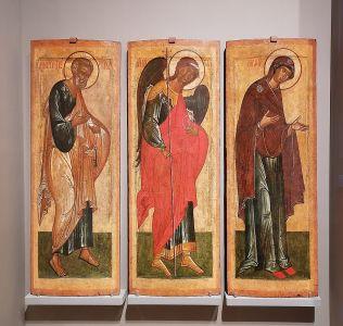 Иконы «Богоматерь», «Архангел Михаил» и «Апостол Пётр». Новгород, последняя треть XV в.