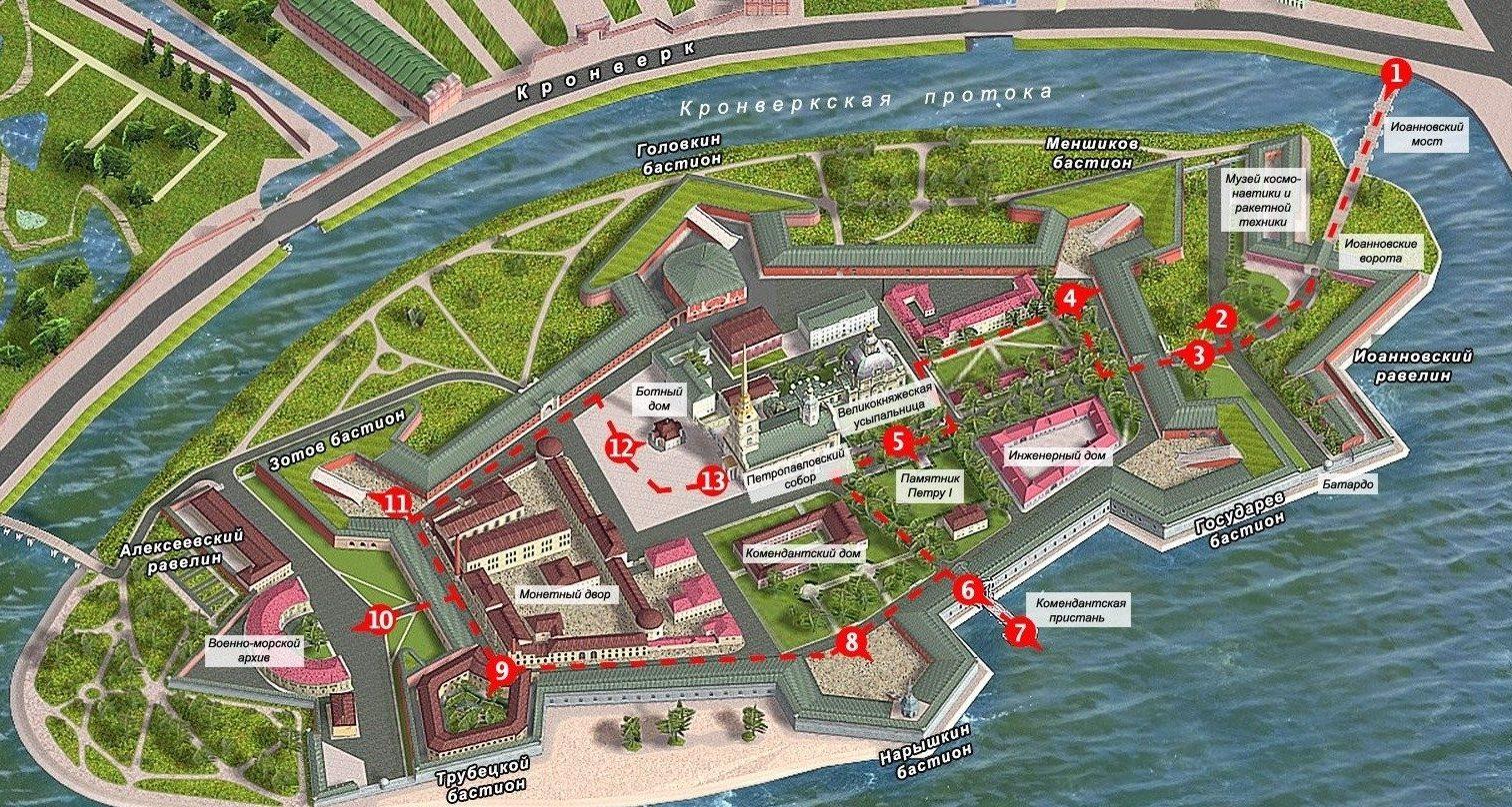План-схема достопримечательностей Петропавловской крепости