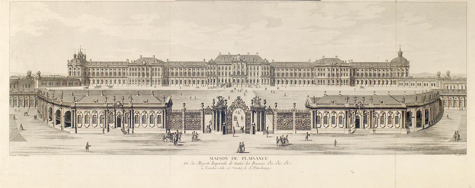 Большой Царскосельский дворец (Екатерининский дворец) 1755-1761. Гравюра по рисунку М.Махаева