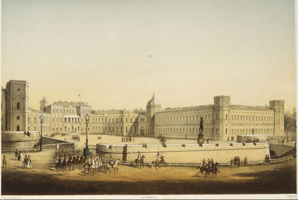 Гатчинский дворец 1845-1858гг. Литография рисунок: Иосиф Шарлемань, гравер: Карл Шульц