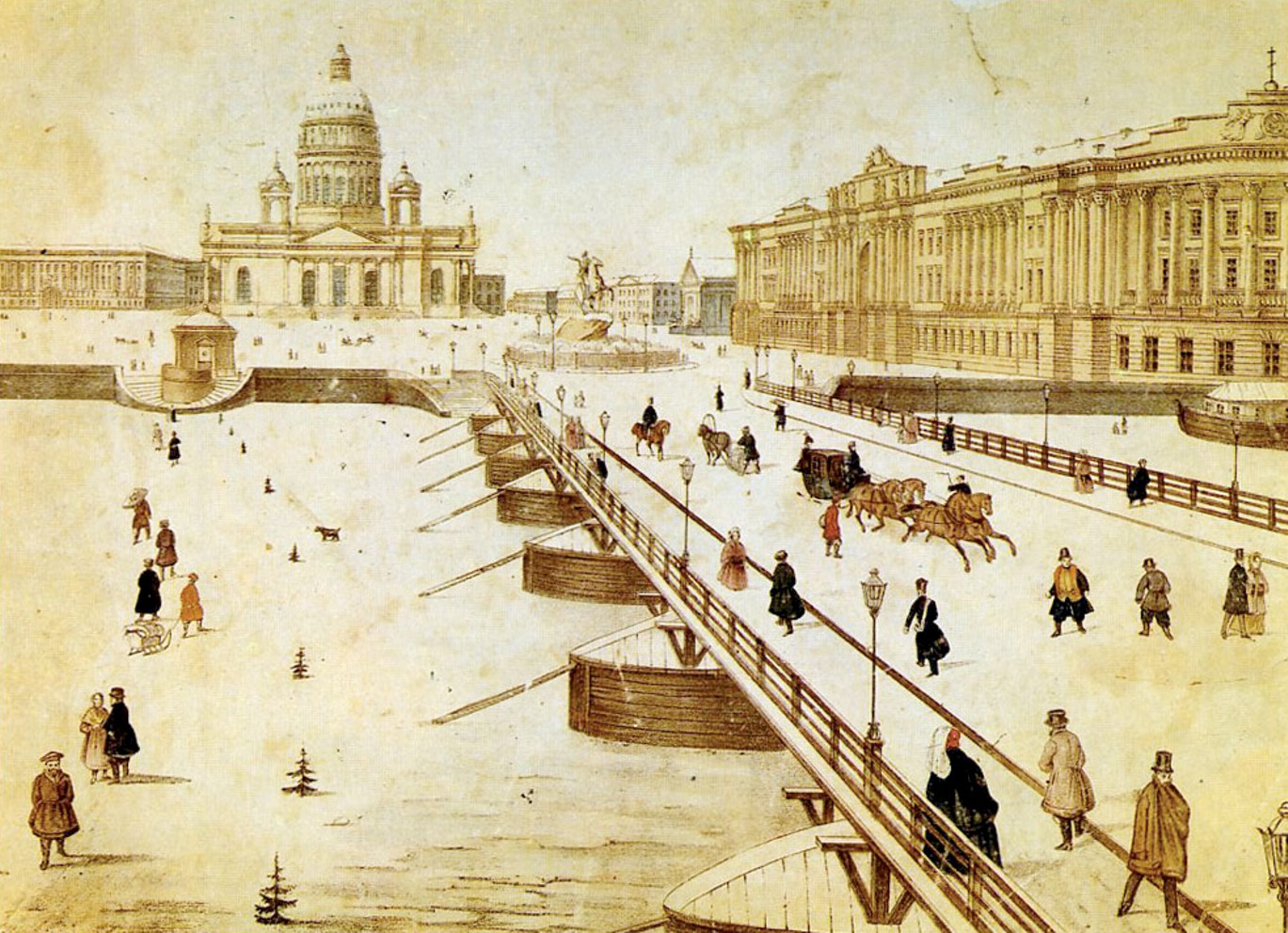 Исааковский плашкоутный мост история