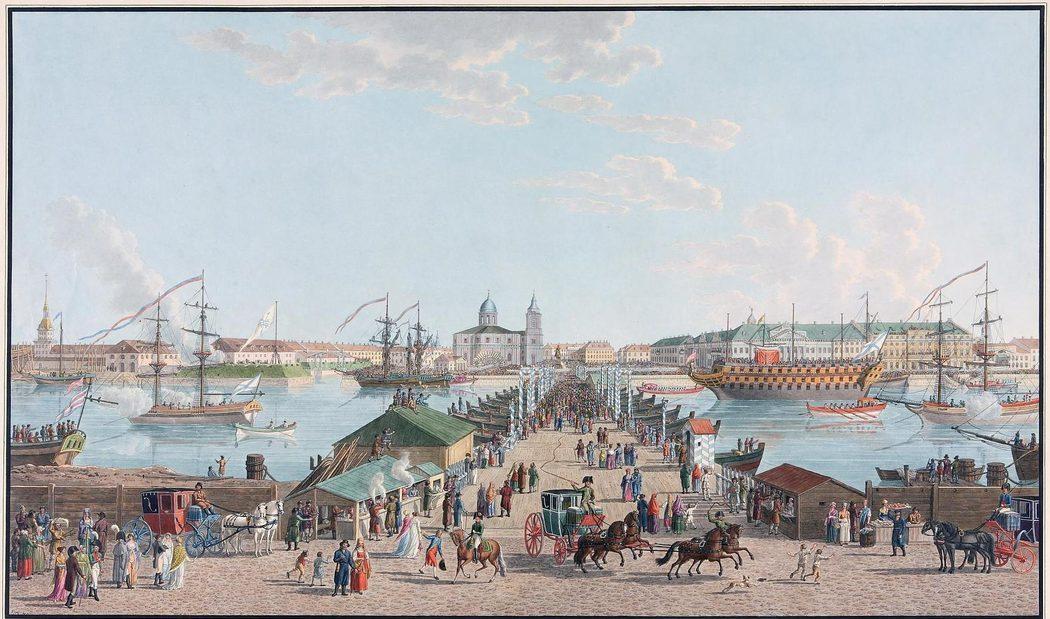 Вид на Исаакиевский понтонный мост и Сенатскую площадь в дни празднования 100-летия Петербурга