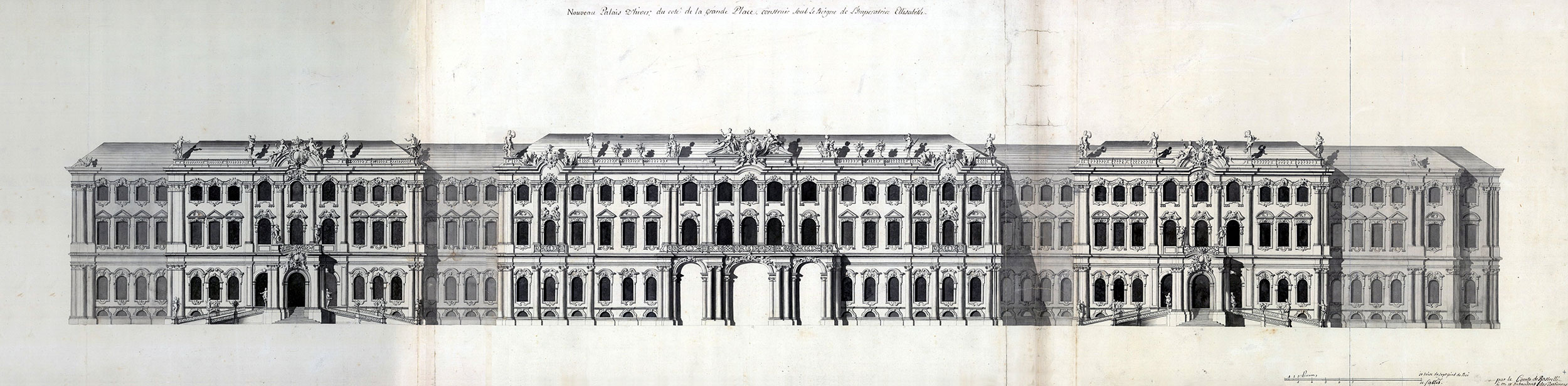 Авторский проект фасада Зимнего дворца Эрмитажа (1754-1762). Растрелли, Бартоломео Франческо