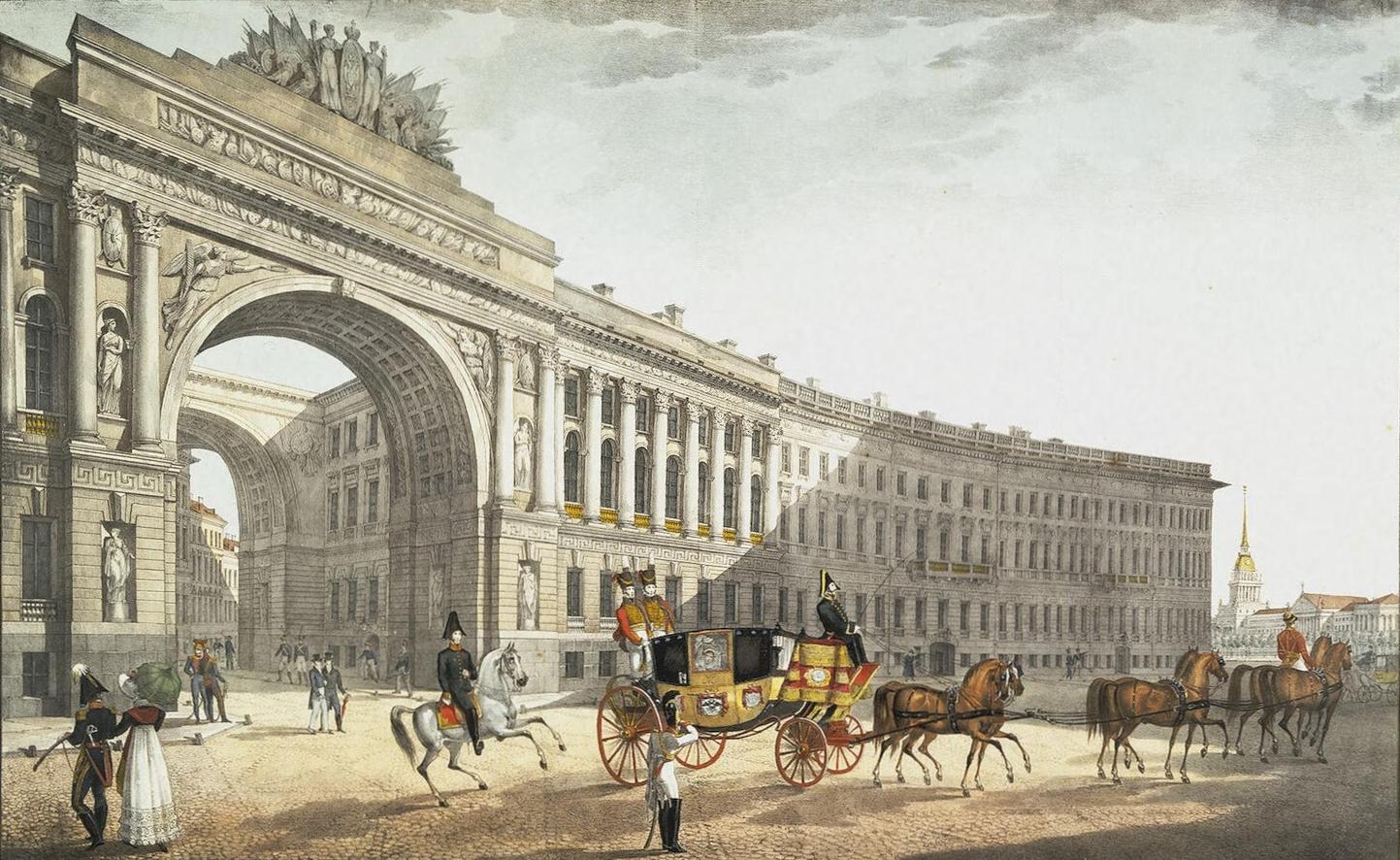 Вид с Дворцовой площади. Литография К. Беггрова по по чертежу Карла Росси