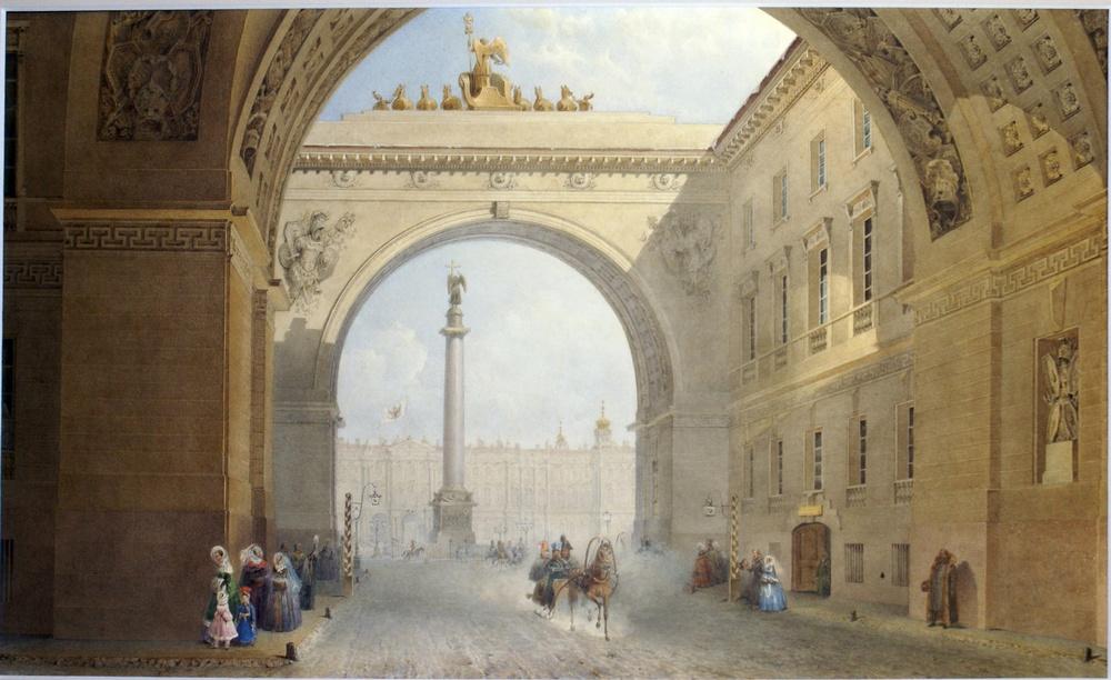 Вид арки Главного штаба зимой, 1830-е гг. Садовников В.С.