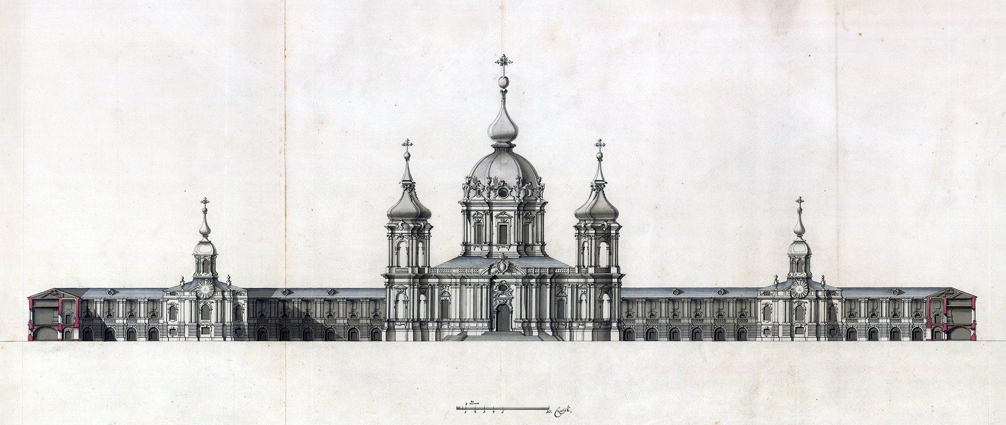 Чертеж фасада Смольного собора 1748-1764г.