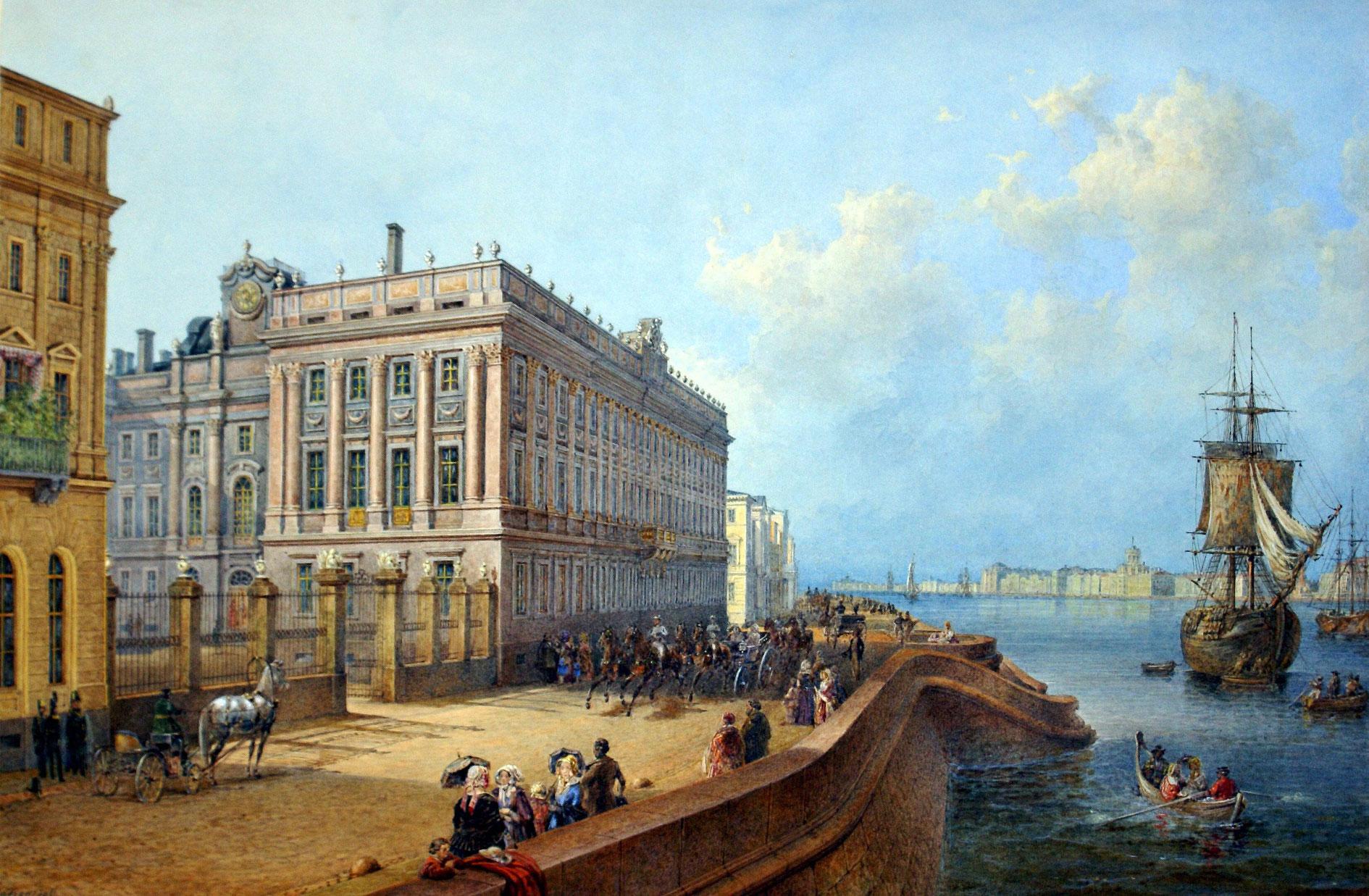 Вид Мраморного дворца со стороны Невы. Картина Садовника В.С., 1847г.