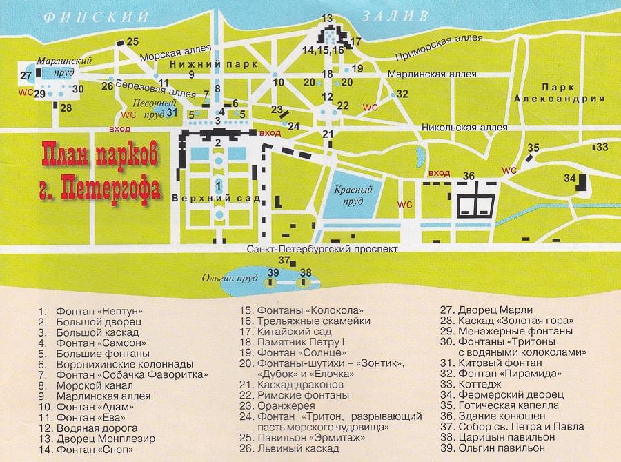 Схема дворцово-паркового ансамбля Петергоф