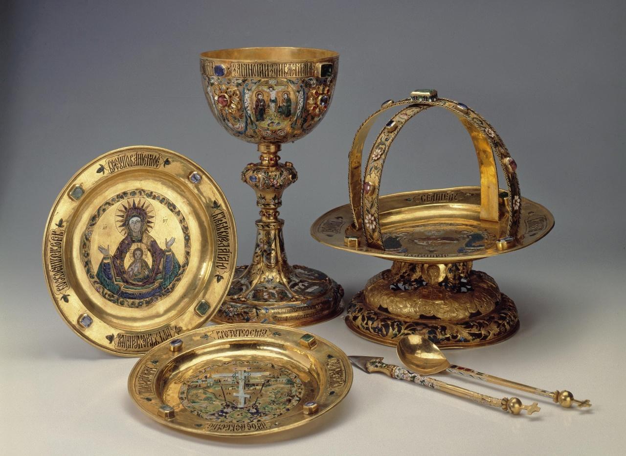 Литургический прибор. Потир, 1677г. Бриллиантовая кладовая эрмитажа