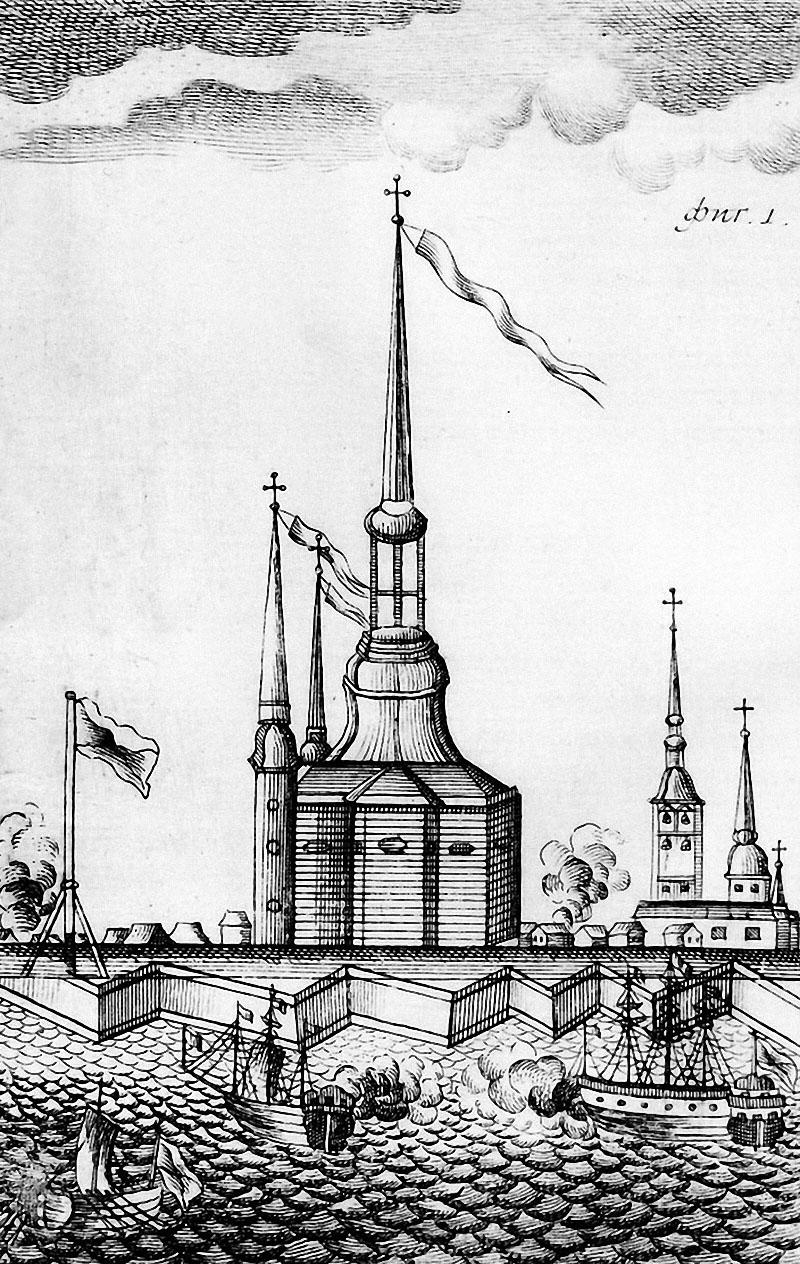 Деревянная Петропавловская церковь. Гравюра XVIII век.