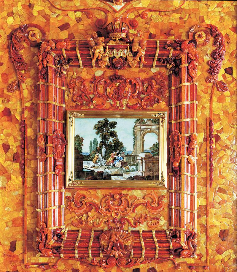 """Флорентийская мозаика """"Обоняние и осязание"""" в Янтарной комнате"""